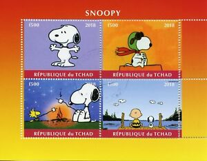 Chad-2018-CTO-Snoopy-Peanuts-Charlie-Brown-4v-M-S-Comics-Cartoons-Stamps