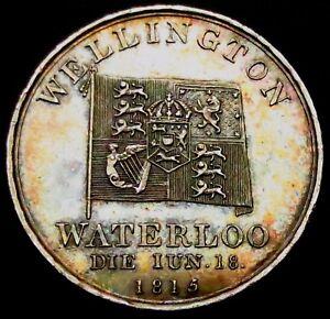 T218-1815-Wellington-amp-Battle-of-Waterloo-High-Grade-Proof-Like-SILVER-Medal
