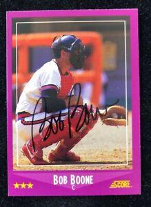BOB-BOONE-1988-SCORE-AUTOGRAPHED-SIGNED-AUTO-BASEBALL-CARD-63-ANGELS