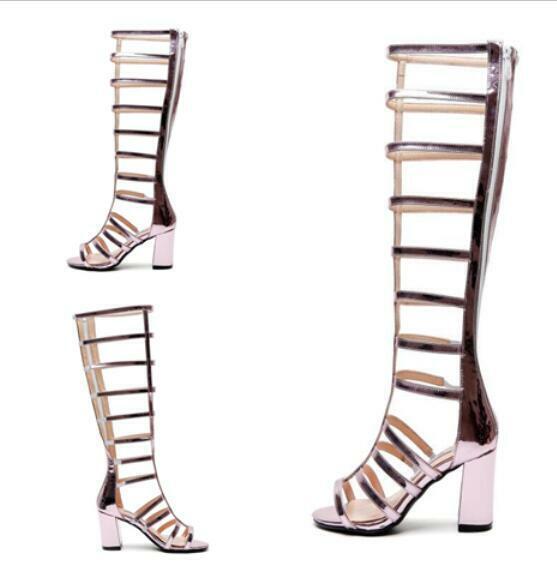 Women's summer mid block heels back back back zipper pointed toe gladiator shoes sandals e99c4f