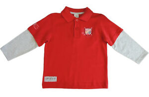 BOYS RED POLO SHIRT WITH GREY SLEEVES, MONACO EMBLEM ON FRONT. SIZE 3,4,5.