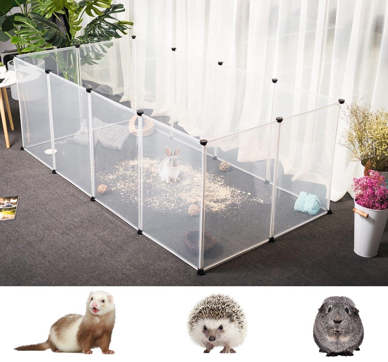 Tespo Dog Playpen Portable Large Plastic Yard Fence for Small Animals