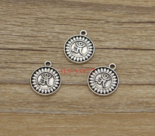 30pcs OM Charms Ohm Yoga Meditation Double Sided Antique Silver Tone 15x13 1012