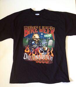 VTG-Bike-Week-Daytona-Beach-2000-Mens-XL-Shirt-Fl-Florida-grave-Main-st-skeleton