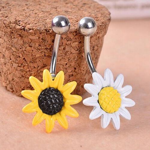 Moda Margarita flor Dangle ombligo anillos cuerpo piercing barra del ombligo..