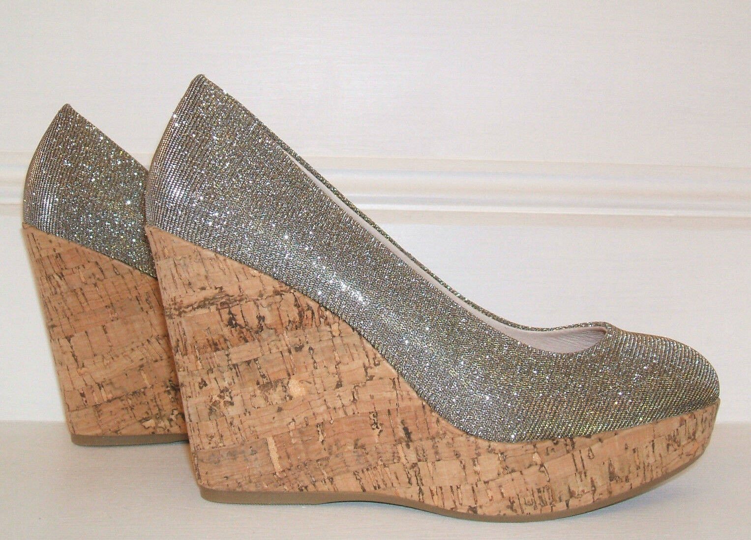 NEW  CARVELA KG SIZE 3 36 ATTEND PEWTER SILVER SANDALS CORK WEDGE COURT Schuhe SANDALS SILVER 023f29