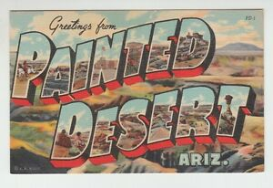 43385-OLD-LARGE-LETTER-POSTCARD-GREETINGS-from-PAINTED-DESERT-ARIZONA