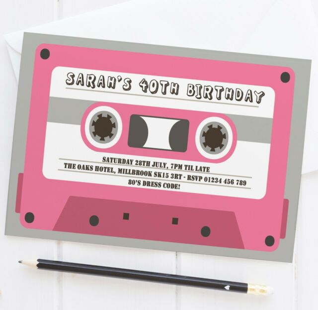 10 CASSETTE TAPE 80S THEME BIRTHDAY PARTY INVITATIONS 30th 40th