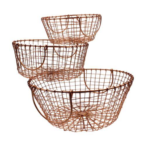 Nesting Round Copper Wire Storage Baskets Circular Fruit Wireware Mesh Metal