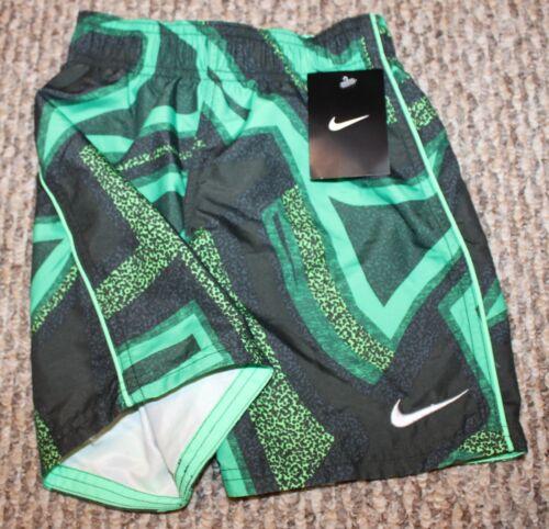 Swim Shorts; Green//Black Pattern New Boys Nike Trunks//Boardies - Sizes 4 or 5