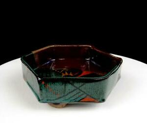"""STUDIO ART POTTERY EARNSHAW SIGNED SOUTHWEST DESIGN 5 3/4"""" LOOP FOOTED BOWL"""