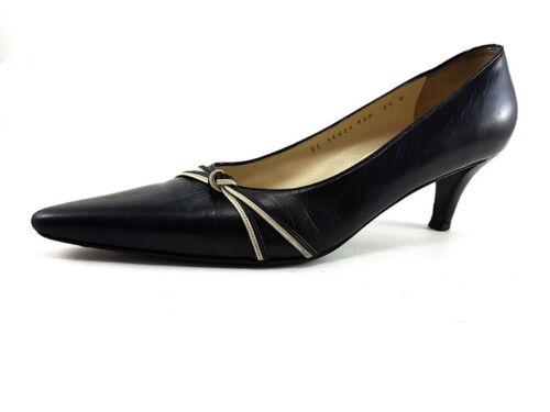 Salvatore Ferragamo Black Leather Kitten low heels
