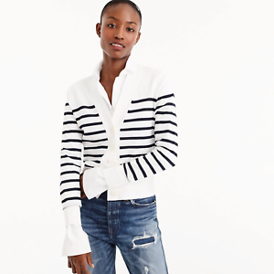 NWT J. Crew Cropped Lightweight Cardigan Sweater in Stripe - White Navy - Small