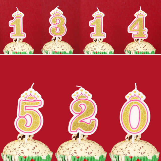 1PC Glitter Birthday Number 0-9 Cake Candles Crown Party Birthday Cake Decor