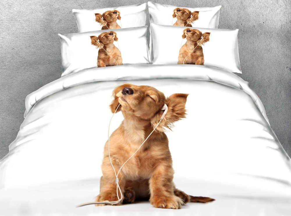 Dog Enjoy Music 3D Printing Duvet Quilt Doona Covers Pillow Case Bedding Sets