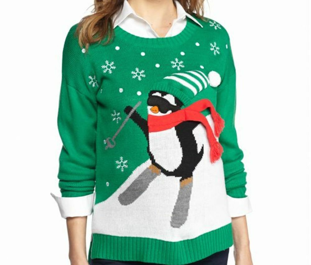 New Directions Weekend Petite Ski Penguin Sweater, Women's MSRP new