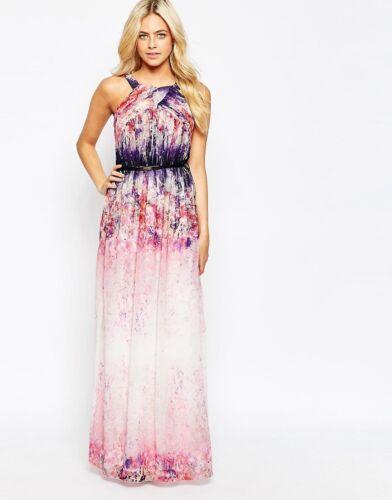 Little Mistress Watercolour Pleated Halter Maxi Wedding Occasion Dress