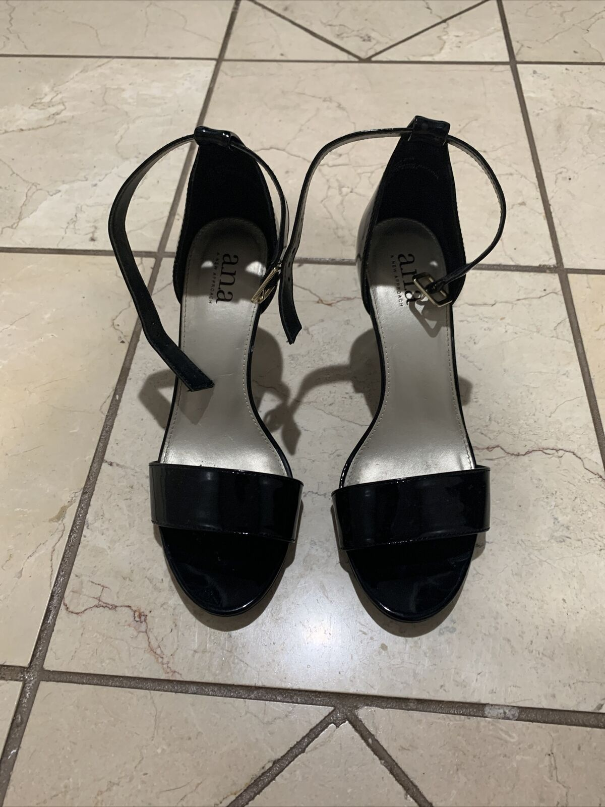 A.N.A Women's Shoes Open Toe High Ankle Strap Heel Black Patent Size 7M Dressy