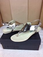 Tsubo Georgea Wet Cement Metallic Leather Strap Wedge Fashion Sandal Size 7.5 Us