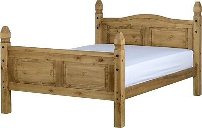 CORONA MEXICAN PINE 4FT6 DOUBLE BED FRAME AND TWO BEDSIDE CHEST