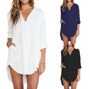 ZANZEA-AU-8-26-Women-Casual-Long-Sleeve-Plus-Size-Tunic-Blouse-Top-Shirt-Dress