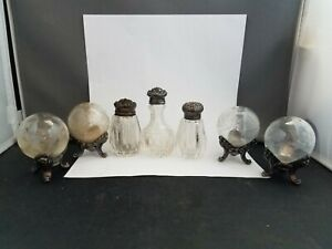 Grouping-Of-Sterling-Antique-Salt-And-Pepper-Shakers