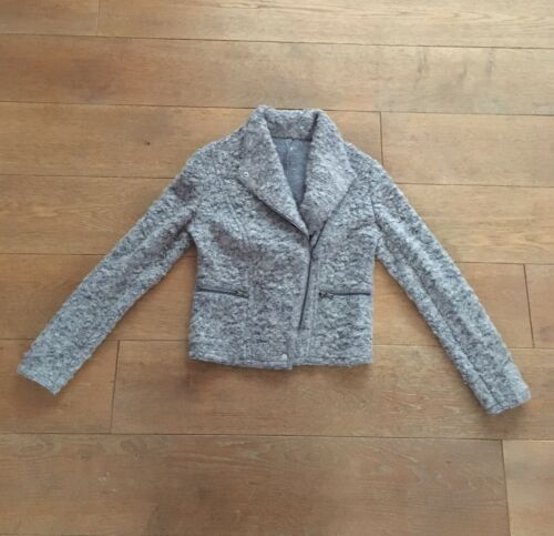 Street Womens taglia Grigio Biker New 10 Fuzzy Ex Zip Jacket High Boucle Up qO4zwtd