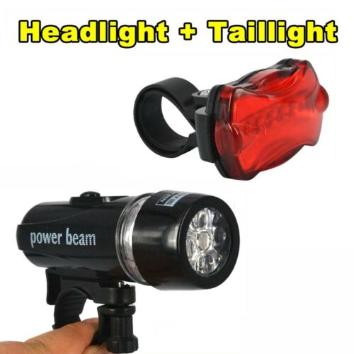 5 LED Cycling Bike Bicycle Front Head Light Torch Lamp Rear Safety Flashlight