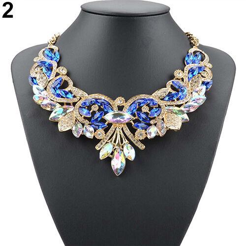 EE/_ Bluelans Rhinestone Flower Pendent Chain Choker Statement Collar Bib Necklac