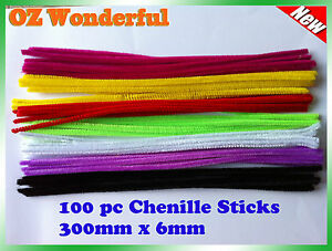 100-Pipe-Cleaners-Chenille-Sticks-Stems-6mm-x-30cm-Assorted-Plain-Colours-Craft