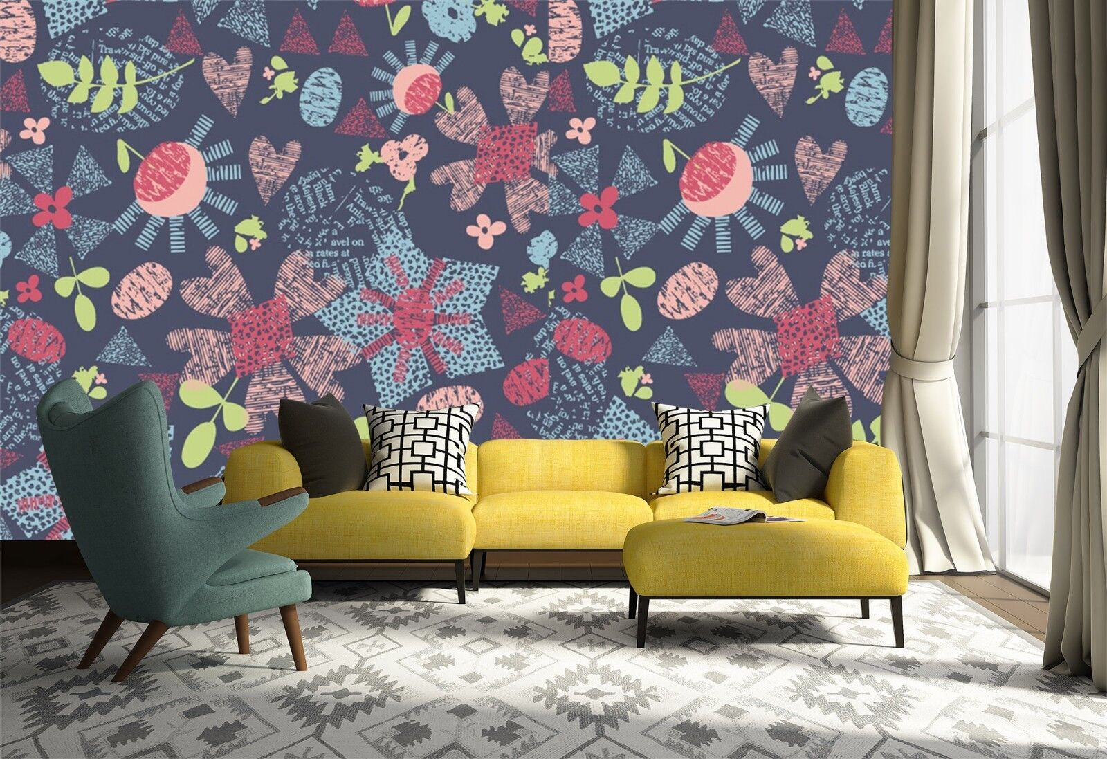3D 3D 3D Pattern Floral 7010 Wallpaper Mural Wall Print Wall Wallpaper Murals US Lemon 8530ff