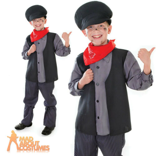 Childs Chimney Sweep Costume Boys Book Week Day Bert Kids Fancy Dress Outfit