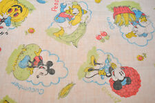 Disney Vintage Old flat sheet Mickey, the 3 little pigs, Dingo, pinocchio