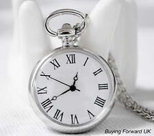UK - Stainless Steel Pocket Watch Silver Quartz Movement 003