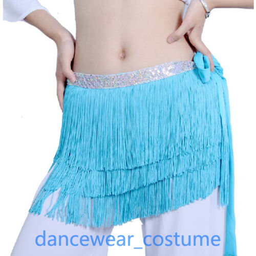New Women Fringe Belly Dance Hip Scarf Wrap Skirt Ladies Latin Salsa Dance Dress