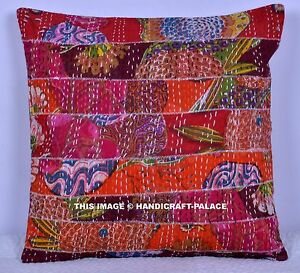 Indian-Vintage-Patchwork-Pillow-Case-Ethnic-Kantha-Cushion-Cover-16-034-Decorative