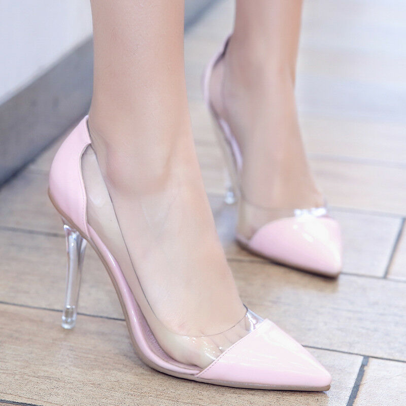 Donna High Heels Stilettos Wedding Shoes Pumps Clear Pointy Pointy Pointy Toe OL Court Pull 0030b8