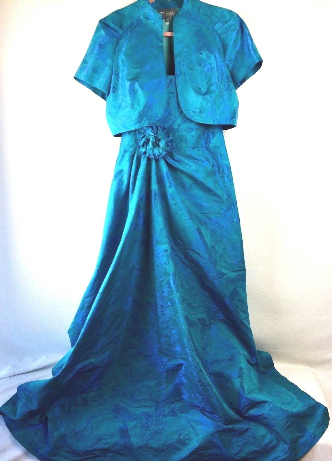 Theia Blue Gown Floral Size 12 Maxi Dress Formal Women's Evening