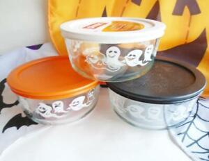1 PYREX 4-Cup *GHOSTS Halloween Storage Bowl *Choose Color: Orange White Black