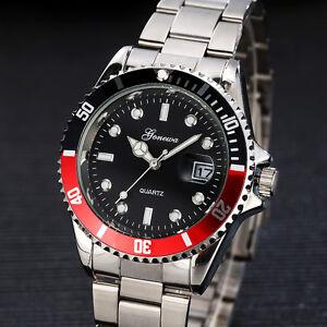 Herren-Sport-Militaer-Armbanduhr-Datum-Edelstahl-Quartz-Analog-Watch-Wasserdicht