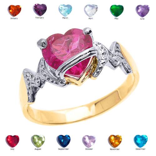 """10k Gold Heart CZ Birthstone /""""MOM/"""" Ring"""