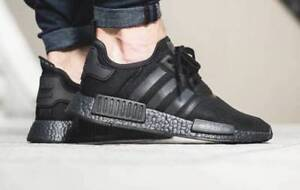0a897d293 Adidas NMD R1 Triple Black Boost Solar Reflective Men s Trainers ...