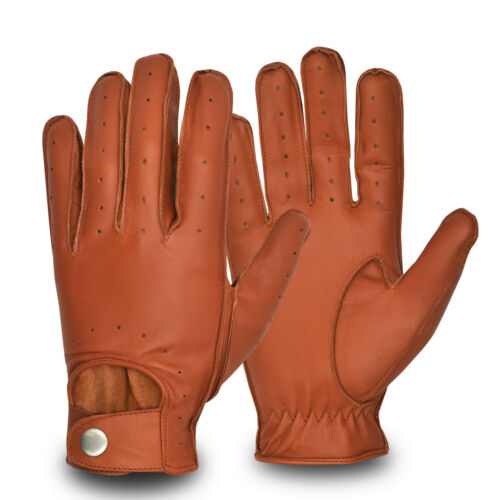 Men's Comfortable Genuine Leather Driving Gloves Touring Road Bike Motorbike