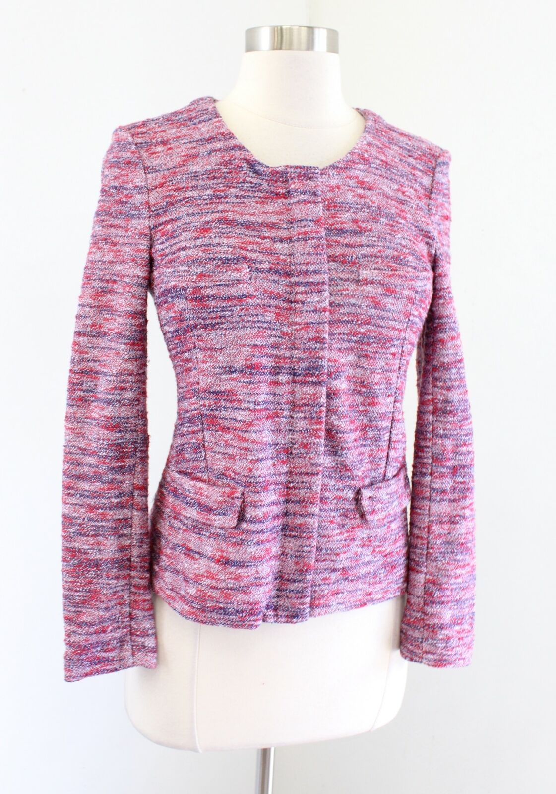 J Crew Micro Tweed Sweater Jacket in Poppy Size XS Zip Front Knit Pink Red Blue