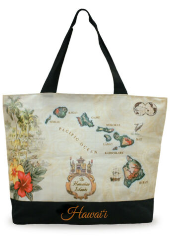 Hawaiian Canvas Island Map Beach Tote Shopping Bag Handbag Travel Hawaii NIP