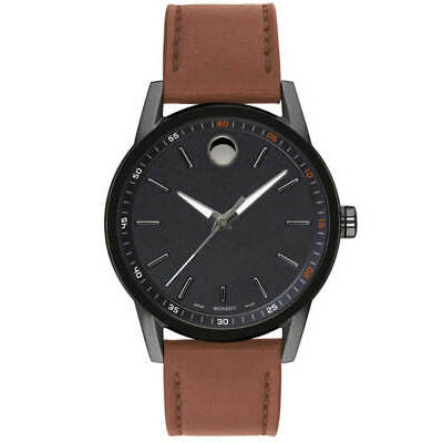 Movado Museum Round Black Dial Cognac Leather 42MM Men's Watch 0607224