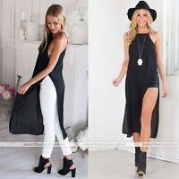 Sexy Womens Both Side High Split Chiffon Backless Split Blouse Maxi Dress