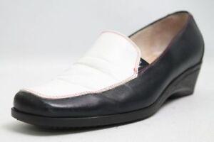 Slipper-Schuhe-dunkelblau-weiss-Leder-Gr-36-UK-3