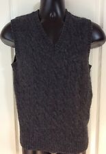 L.L. BEAN Mens Medium Tall 100% Shetland Wool V-NECK SWEATER VEST Pullover Cable