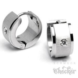 Edelstahl-Damen-Ohrringe-Klapp-Creolen-Silber-Breit-Gebuerstet-Zirkonia-13mm